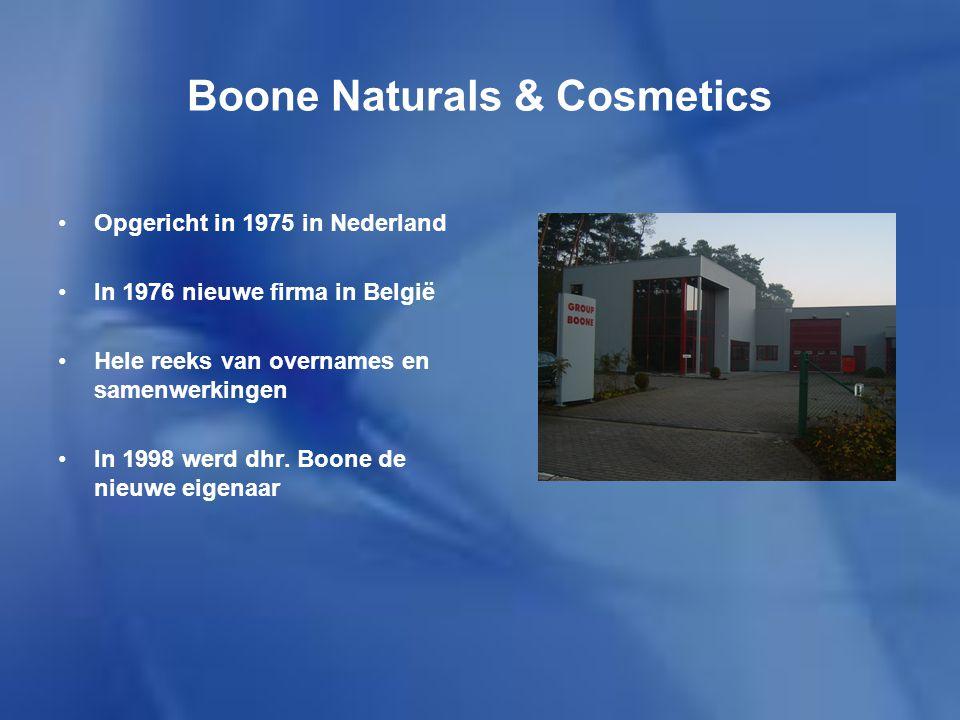 Boone Naturals & Cosmetics Ontwikkelt, produceert en commercialiseert zijn producten De producten zijn allemaal gemaakt uit plantaardige stoffen Er zijn 4 hoofdproducten: Biostar, Fytostar, Cosmostar en Nutrastar Elk product heeft zijn eigen doel