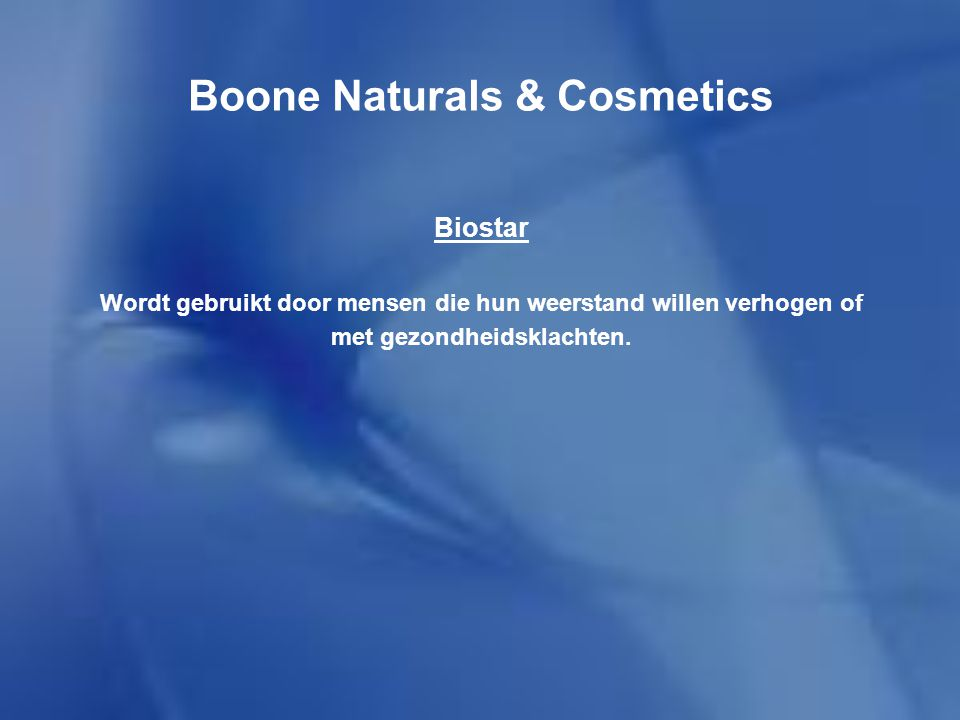 Boone Naturals & Cosmetics Fytostar Wordt gebruikt voor problemen van het menselijk comfort.