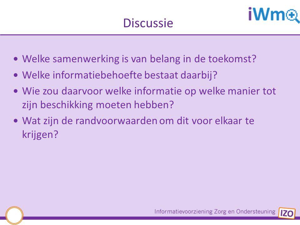 Discussie Welke samenwerking is van belang in de toekomst? Welke informatiebehoefte bestaat daarbij? Wie zou daarvoor welke informatie op welke manier