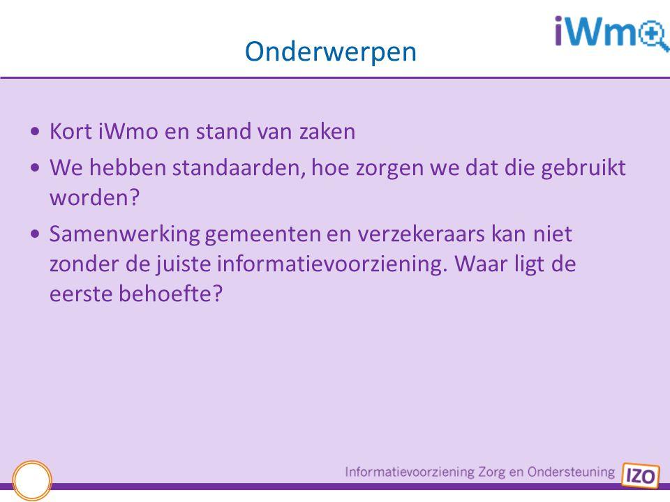 Onderwerpen Kort iWmo en stand van zaken We hebben standaarden, hoe zorgen we dat die gebruikt worden? Samenwerking gemeenten en verzekeraars kan niet
