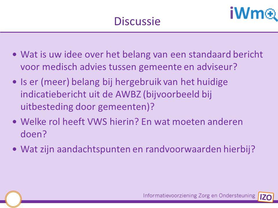 Discussie Wat is uw idee over het belang van een standaard bericht voor medisch advies tussen gemeente en adviseur? Is er (meer) belang bij hergebruik