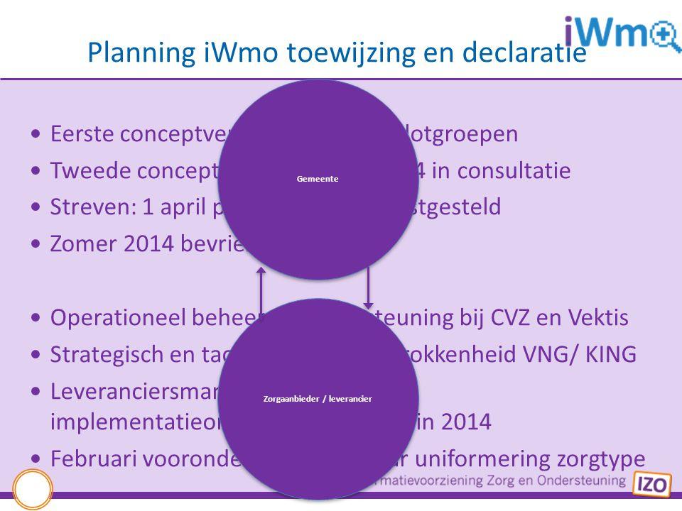 Planning iWmo toewijzing en declaratie Eerste conceptversie getoetst in pilotgroepen Tweede conceptversie februari 2014 in consultatie Streven: 1 apri