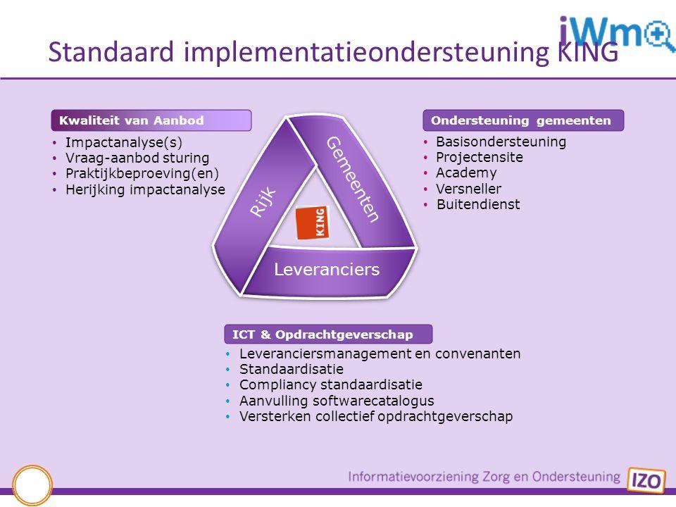 Standaard implementatieondersteuning KING Leveranciersmanagement en convenanten Standaardisatie Compliancy standaardisatie Aanvulling softwarecatalogu