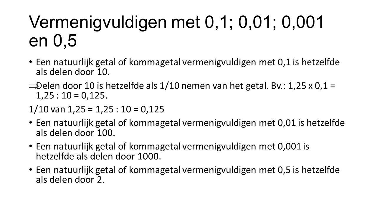 Vermenigvuldigen met 0,1; 0,01; 0,001 en 0,5 Een natuurlijk getal of kommagetal vermenigvuldigen met 0,1 is hetzelfde als delen door 10.  Delen door