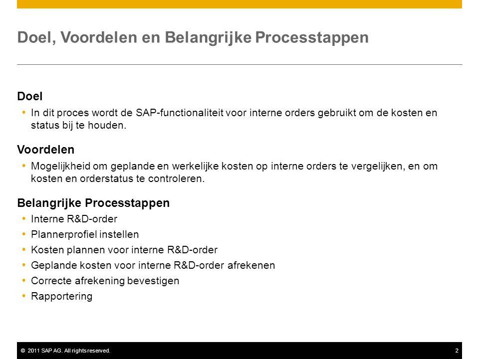 ©2011 SAP AG. All rights reserved.2 Doel, Voordelen en Belangrijke Processtappen Doel  In dit proces wordt de SAP-functionaliteit voor interne orders