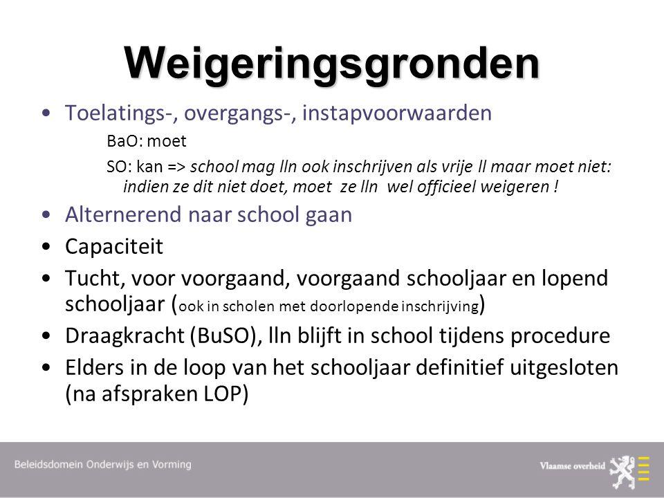Weigeringsgronden Toelatings-, overgangs-, instapvoorwaarden BaO: moet SO: kan => school mag lln ook inschrijven als vrije ll maar moet niet: indien ze dit niet doet, moet ze lln wel officieel weigeren .