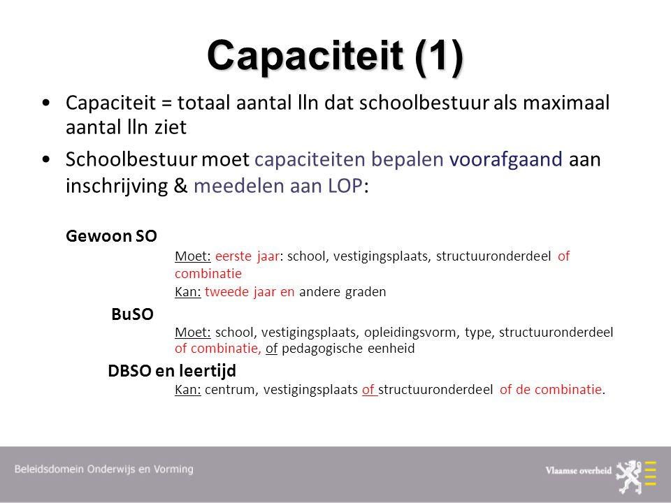 Capaciteit (1) Capaciteit = totaal aantal lln dat schoolbestuur als maximaal aantal lln ziet Schoolbestuur moet capaciteiten bepalen voorafgaand aan i