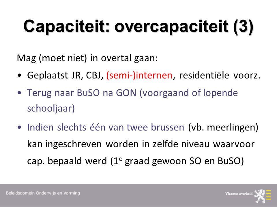 Capaciteit: overcapaciteit (3) Mag (moet niet) in overtal gaan: Geplaatst JR, CBJ, (semi-)internen, residentiële voorz. Terug naar BuSO na GON (voorga
