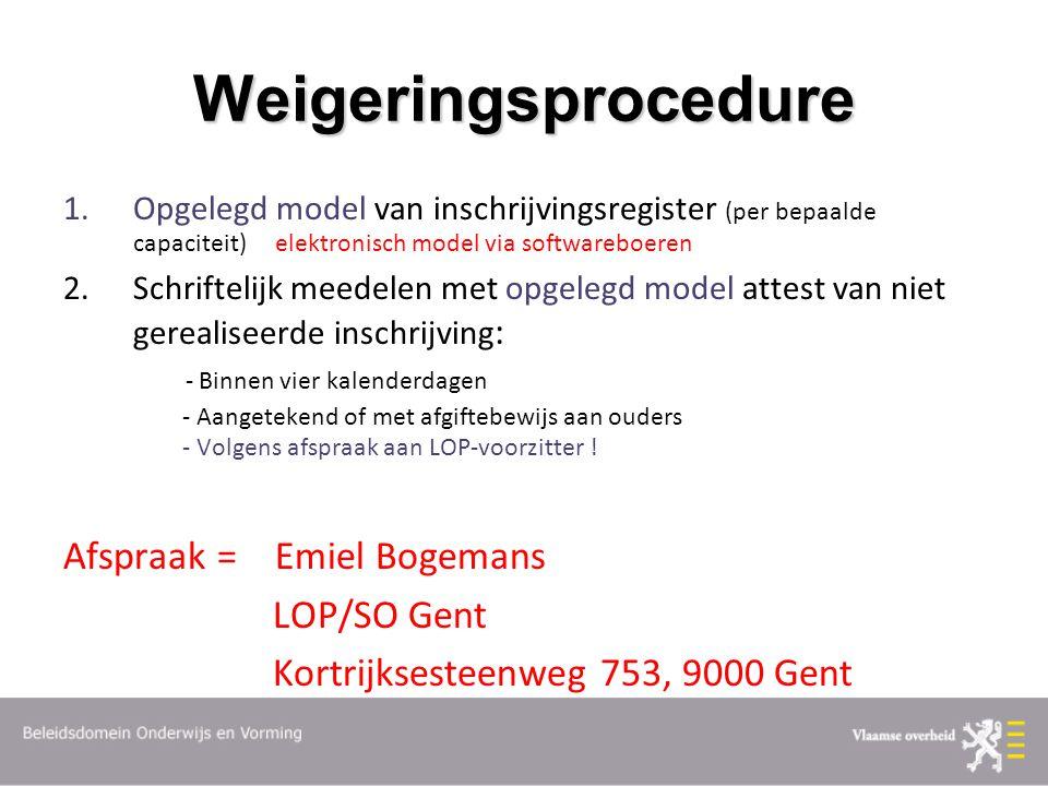 Weigeringsprocedure 1.Opgelegd model van inschrijvingsregister (per bepaalde capaciteit) elektronisch model via softwareboeren 2.Schriftelijk meedelen