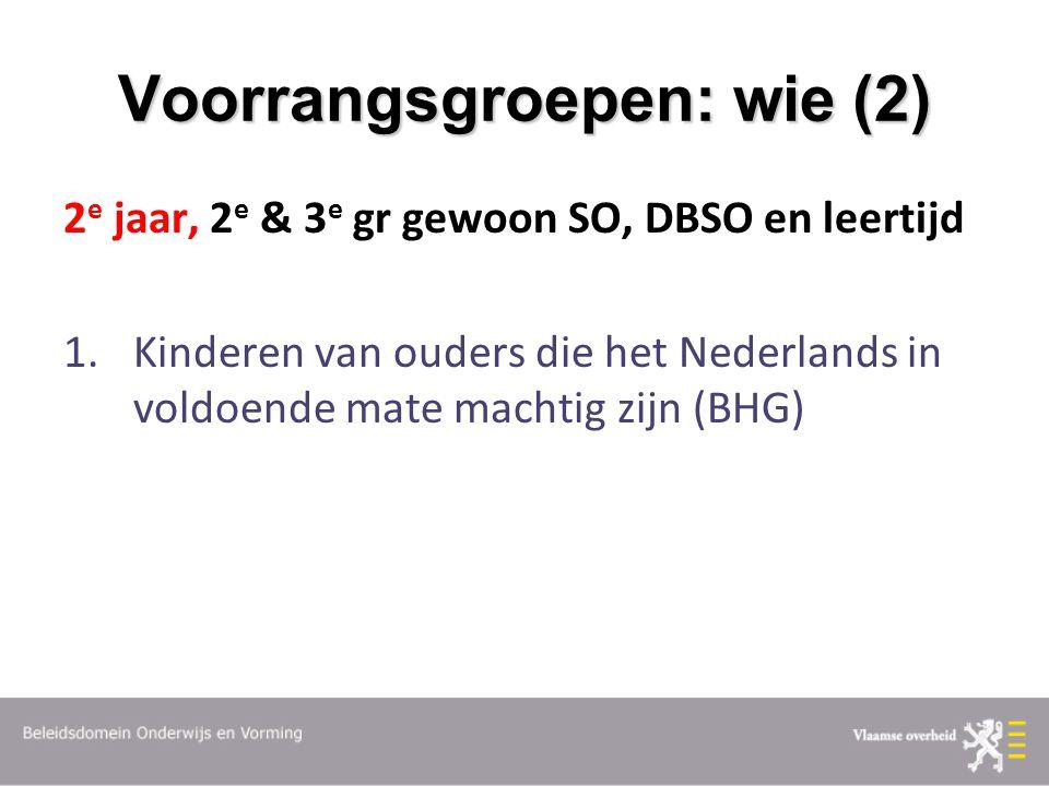 Voorrangsgroepen: wie (2) 2 e jaar, 2 e & 3 e gr gewoon SO, DBSO en leertijd 1.Kinderen van ouders die het Nederlands in voldoende mate machtig zijn (BHG)