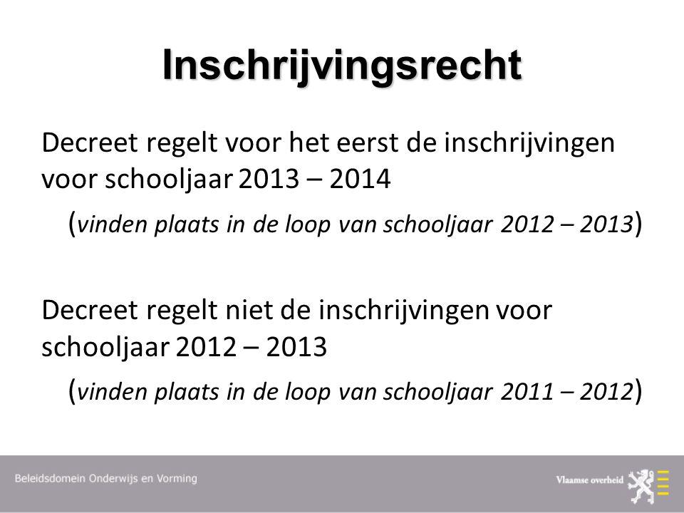 Inschrijvingsrecht Decreet regelt voor het eerst de inschrijvingen voor schooljaar 2013 – 2014 ( vinden plaats in de loop van schooljaar 2012 – 2013 )