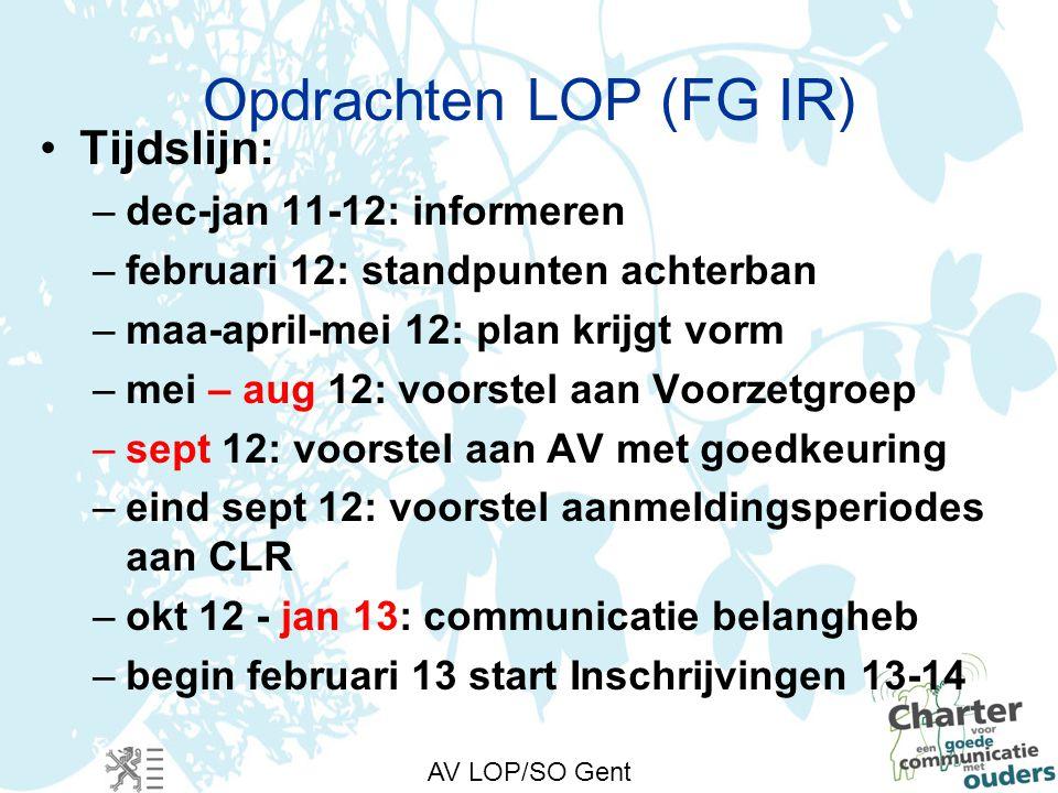 AV LOP/SO Gent Opdrachten LOP (FG IR) Tijdslijn: –dec-jan 11-12: informeren –februari 12: standpunten achterban –maa-april-mei 12: plan krijgt vorm –mei – aug 12: voorstel aan Voorzetgroep –sept 12: voorstel aan AV met goedkeuring –eind sept 12: voorstel aanmeldingsperiodes aan CLR –okt 12 - jan 13: communicatie belangheb –begin februari 13 start Inschrijvingen 13-14