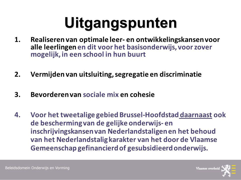 Uitgangspunten 1.Realiseren van optimale leer- en ontwikkelingskansen voor alle leerlingen en dit voor het basisonderwijs, voor zover mogelijk, in een school in hun buurt 2.Vermijden van uitsluiting, segregatie en discriminatie 3.Bevorderen van sociale mix en cohesie 4.Voor het tweetalige gebied Brussel-Hoofdstad daarnaast ook de bescherming van de gelijke onderwijs- en inschrijvingskansen van Nederlandstaligen en het behoud van het Nederlandstalig karakter van het door de Vlaamse Gemeenschap gefinancierd of gesubsidieerd onderwijs.