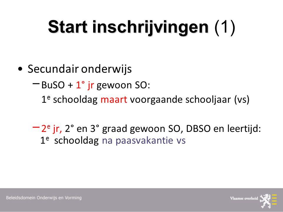 Start inschrijvingen Start inschrijvingen (1) Secundair onderwijs  BuSO + 1° jr gewoon SO: 1 e schooldag maart voorgaande schooljaar (vs)  2 e jr, 2