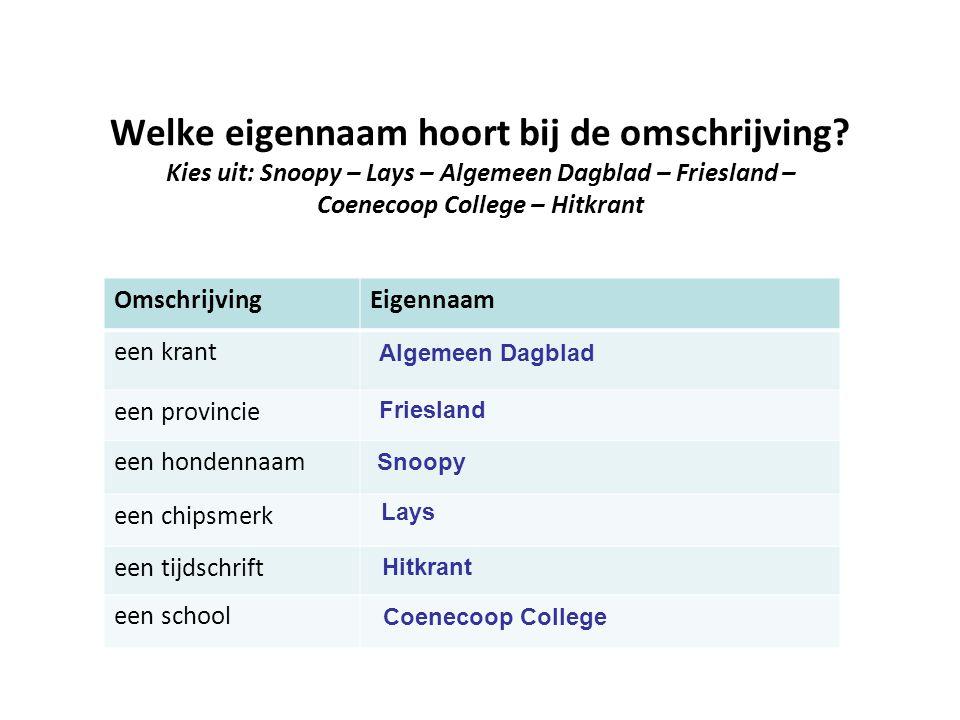 Welke eigennaam hoort bij de omschrijving? Kies uit: Snoopy – Lays – Algemeen Dagblad – Friesland – Coenecoop College – Hitkrant OmschrijvingEigennaam