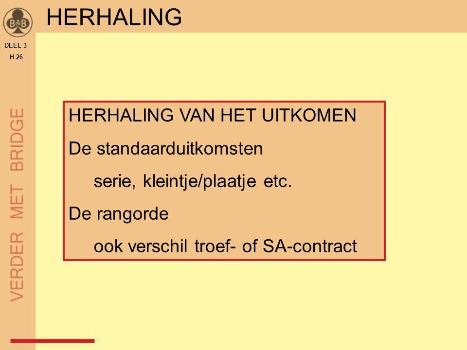 DEEL 3 H 26 HERHALING HERHALING VAN HET UITKOMEN De standaarduitkomsten serie, kleintje/plaatje etc. De rangorde ook verschil troef- of SA-contract