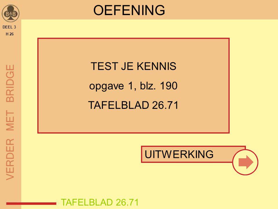 DEEL 3 H 26 OEFENING TEST JE KENNIS opgave 1, blz. 190 TAFELBLAD 26.71 UITWERKING TAFELBLAD 26.71