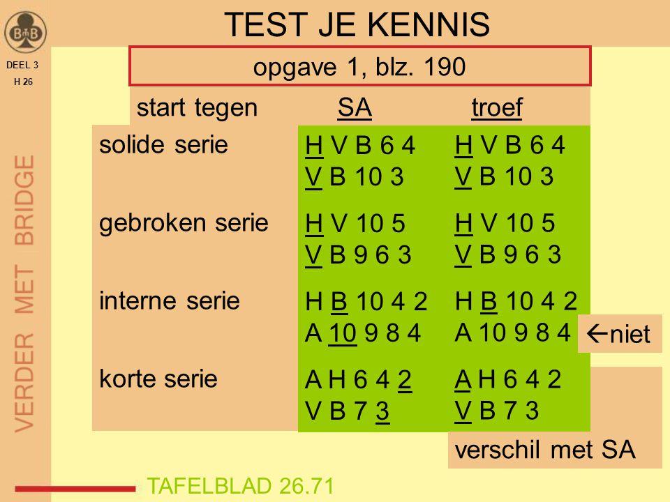 DEEL 3 H 26 TEST JE KENNIS opgave 1, blz. 190 solide serie gebroken serie interne serie korte serie H V B 6 4 V B 10 3 H V 10 5 V B 9 6 3 H B 10 4 2 A