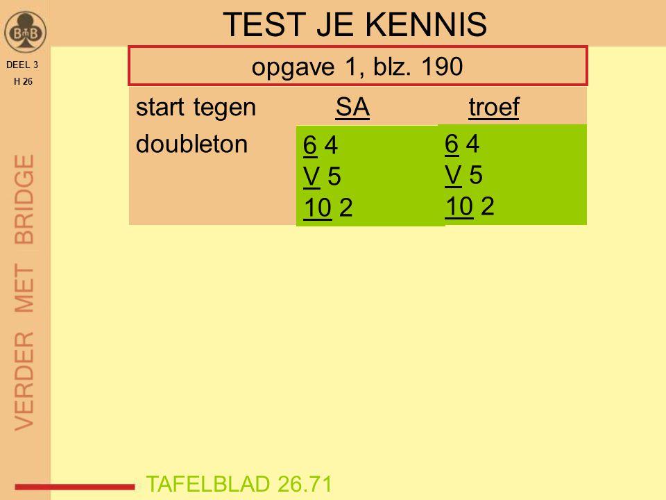 DEEL 3 H 26 TEST JE KENNIS opgave 1, blz. 190 doubleton 6 4 V 5 10 2 start tegenSAtroef 6 4 V 5 10 2 TAFELBLAD 26.71