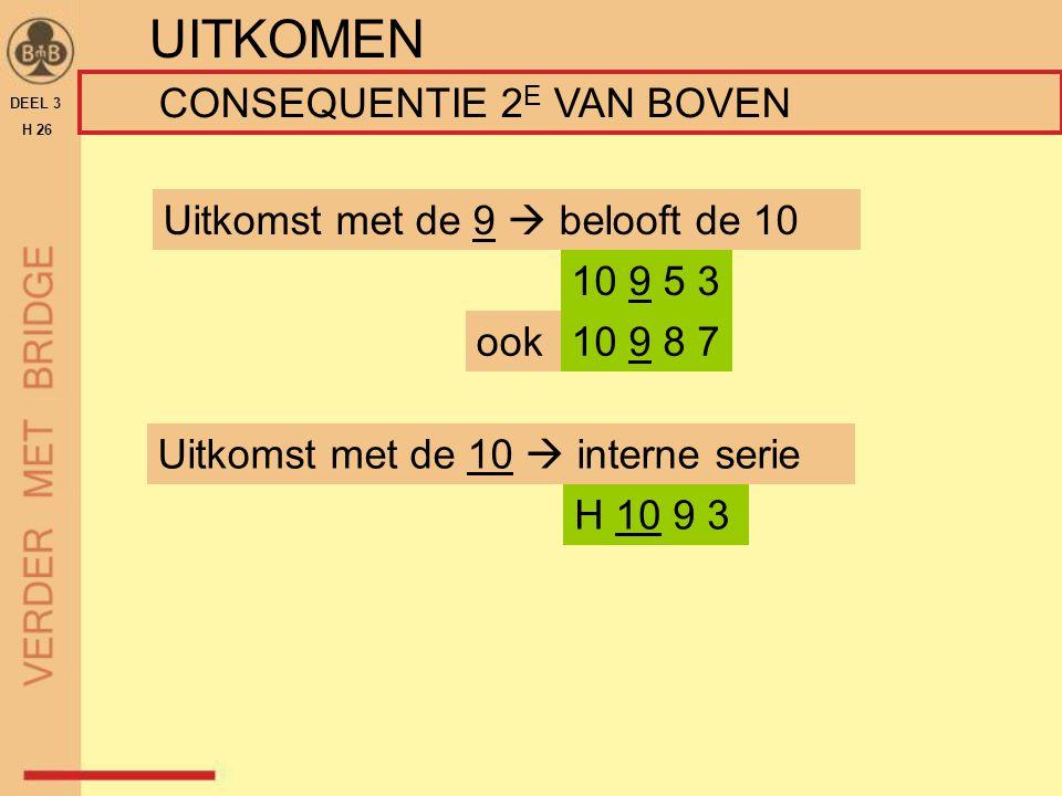 DEEL 3 H 26 UITKOMEN CONSEQUENTIE 2 E VAN BOVEN Uitkomst met de 10  interne serie H 10 9 3 Uitkomst met de 9  belooft de 10 10 9 5 3 ook10 9 8 7