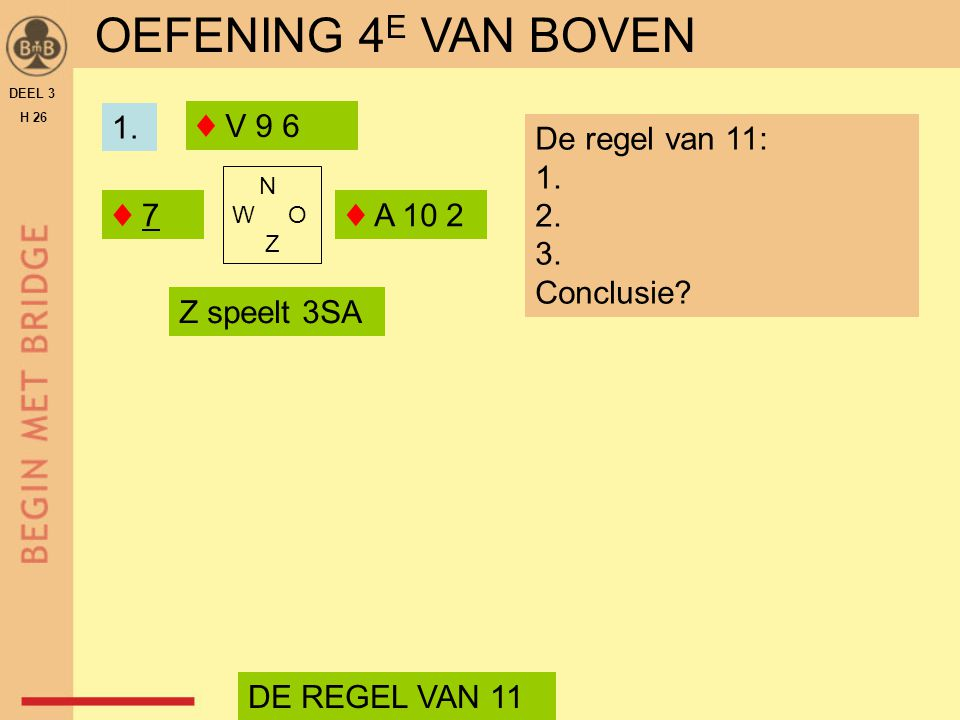 N W O Z ♦ V 9 6 OEFENING 4 E VAN BOVEN ♦ 7♦ 7♦ A 10 2 De regel van 11: 1. 2. 3. Conclusie? DE REGEL VAN 11 Z speelt 3SA 1. DEEL 3 H 26
