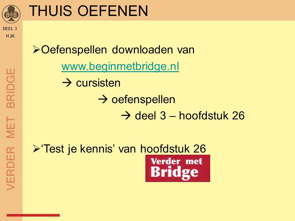 THUIS OEFENEN  Oefenspellen downloaden van www.beginmetbridge.nl  cursisten  oefenspellen  deel 3 – hoofdstuk 26  'Test je kennis' van hoofdstuk