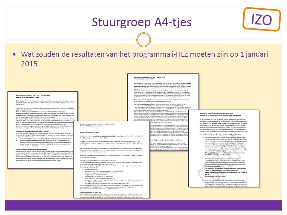 IZO Stuurgroep A4-tjes Wat zouden de resultaten van het programma i-HLZ moeten zijn op 1 januari 2015