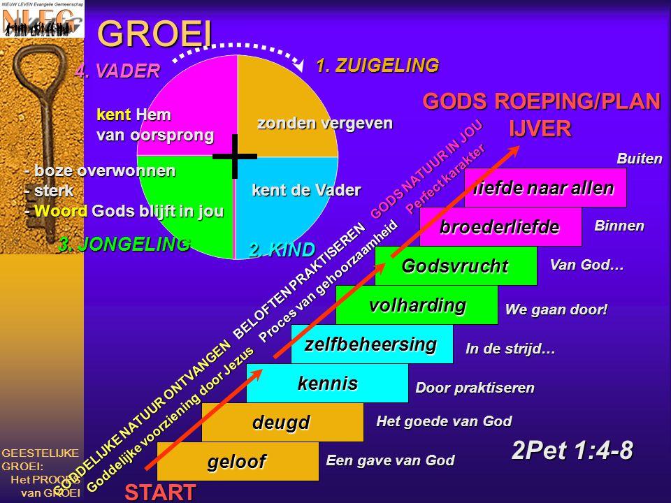 2Pet 1:4-8 geloof deugd kennis zelfbeheersing volharding Godsvrucht broederliefde liefde naar allen GODS ROEPING/PLAN IJVER IJVER Het goede van God Do