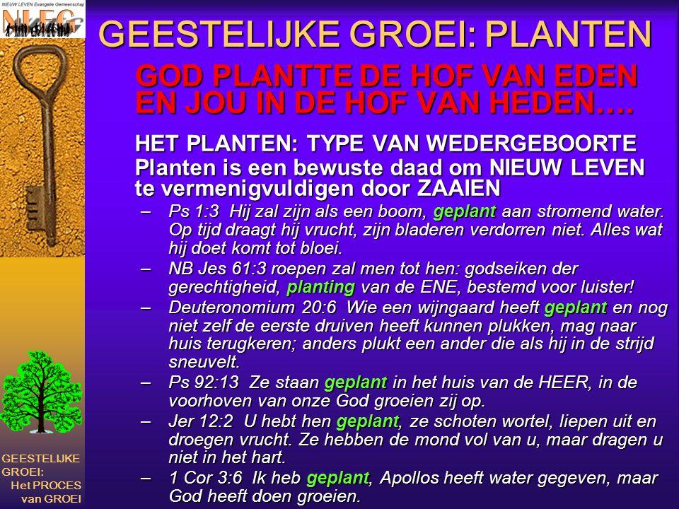 GEESTELIJKE GROEI: PLANTEN GOD PLANTTE DE HOF VAN EDEN EN JOU IN DE HOF VAN HEDEN…. HET PLANTEN: TYPE VAN WEDERGEBOORTE Planten is een bewuste daad om