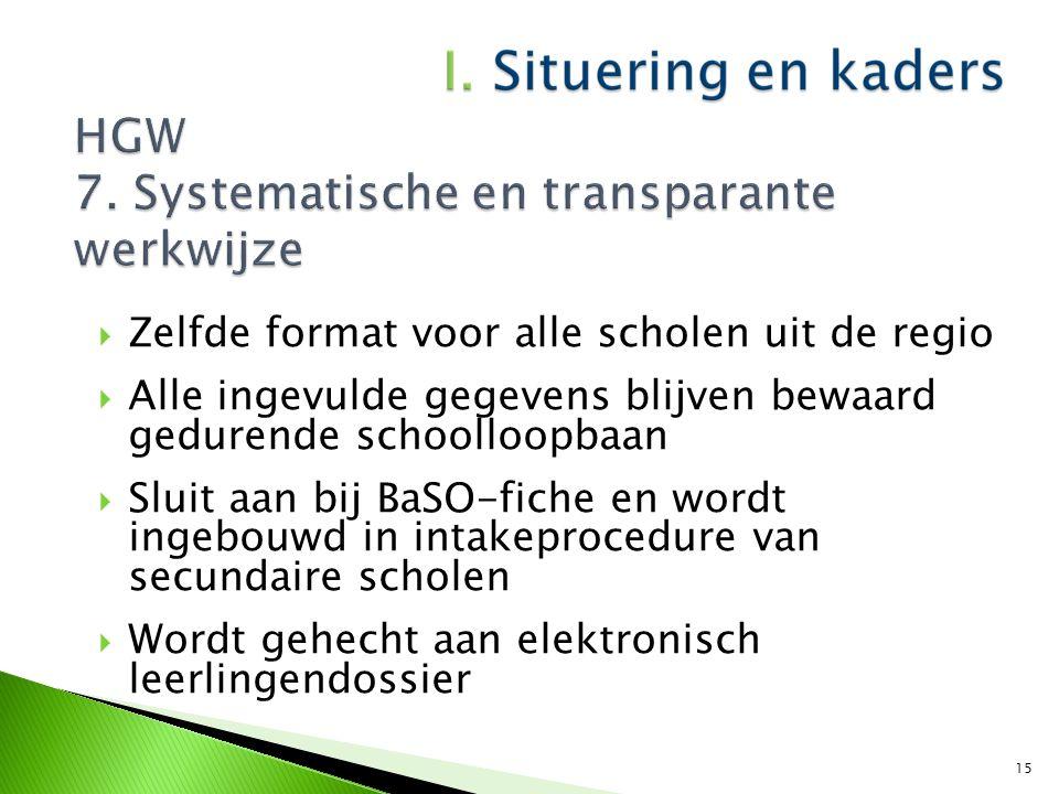  Zelfde format voor alle scholen uit de regio  Alle ingevulde gegevens blijven bewaard gedurende schoolloopbaan  Sluit aan bij BaSO-fiche en wordt
