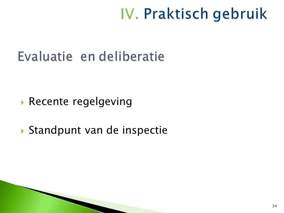  Recente regelgeving  Standpunt van de inspectie 34