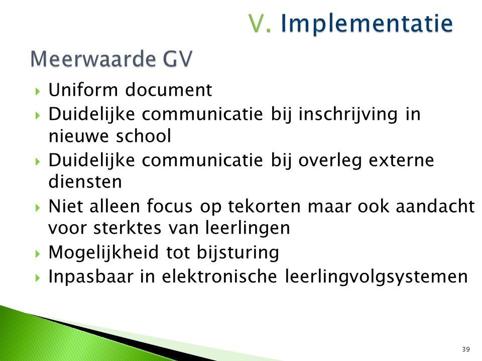  Uniform document  Duidelijke communicatie bij inschrijving in nieuwe school  Duidelijke communicatie bij overleg externe diensten  Niet alleen fo