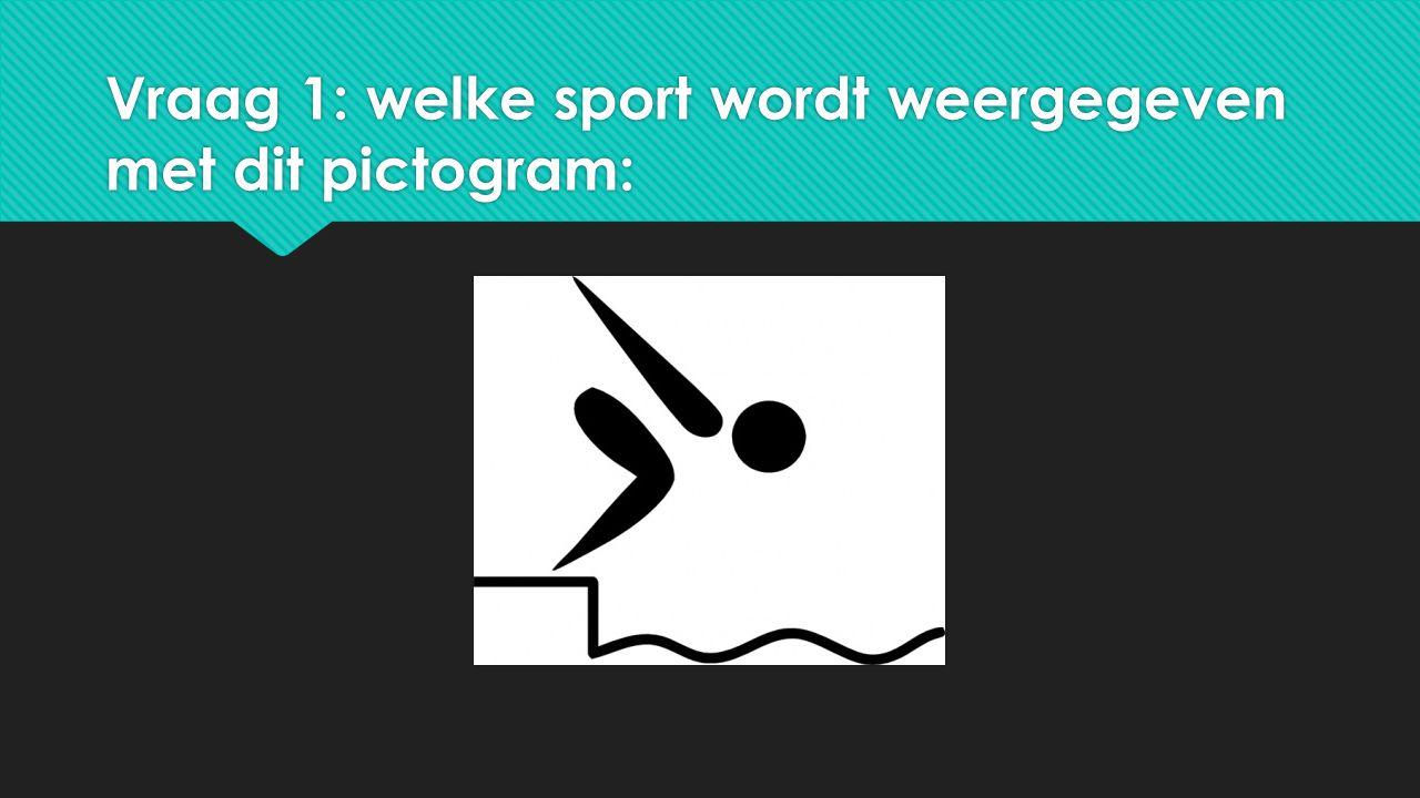 Vraag 1: welke sport wordt weergegeven met dit pictogram: