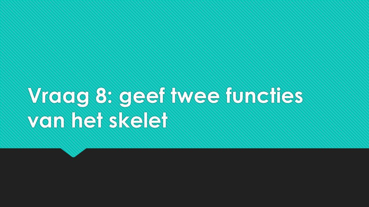 Vraag 8: geef twee functies van het skelet