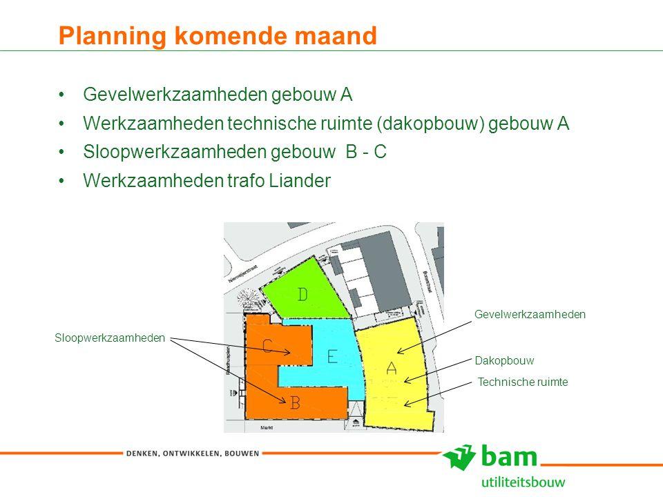 Planning komende maand Gevelwerkzaamheden gebouw A Werkzaamheden technische ruimte (dakopbouw) gebouw A Sloopwerkzaamheden gebouw B - C Werkzaamheden