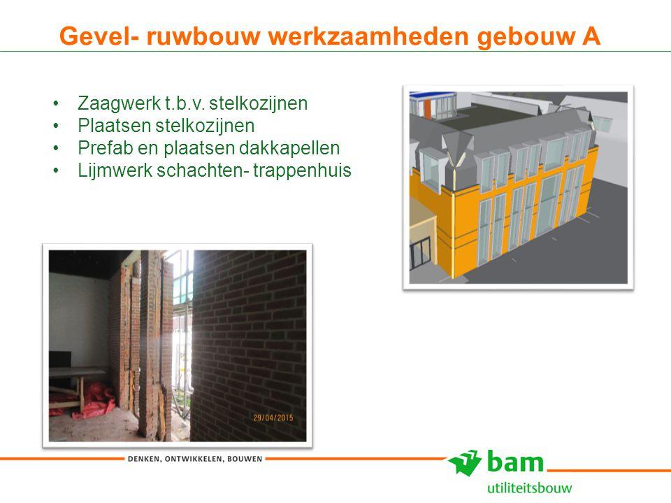Gevel- ruwbouw werkzaamheden gebouw A 7 Zaagwerk t.b.v. stelkozijnen Plaatsen stelkozijnen Prefab en plaatsen dakkapellen Lijmwerk schachten- trappenh