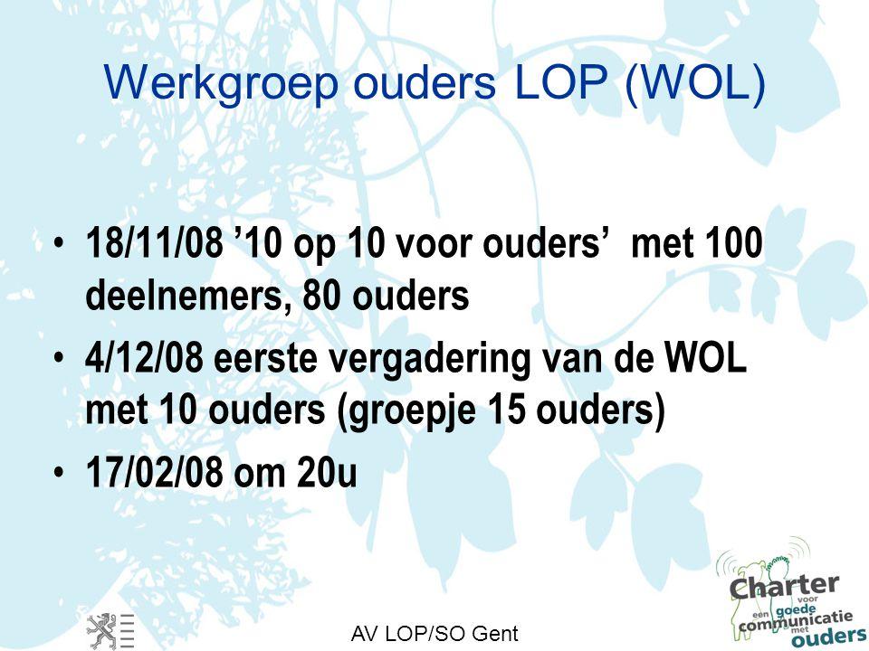 Werkgroep ouders LOP (WOL) 18/11/08 '10 op 10 voor ouders' met 100 deelnemers, 80 ouders 4/12/08 eerste vergadering van de WOL met 10 ouders (groepje 15 ouders) 17/02/08 om 20u AV LOP/SO Gent