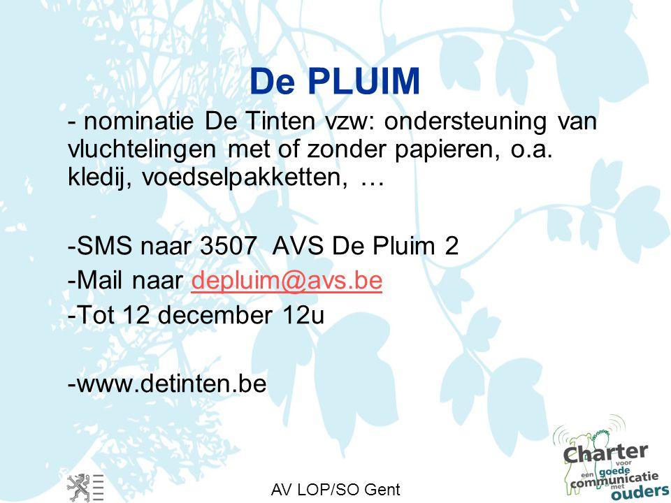 AV LOP/SO Gent De PLUIM - nominatie De Tinten vzw: ondersteuning van vluchtelingen met of zonder papieren, o.a.