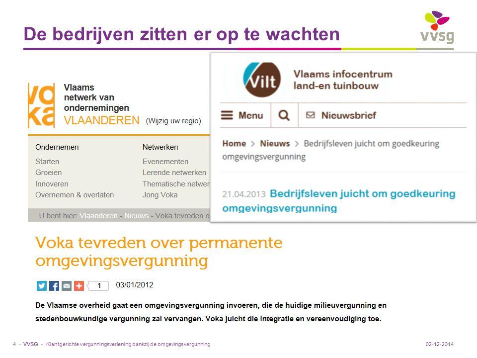 VVSG - De bedrijven zitten er op te wachten Klantgerichte vergunningsverlening dankzij de omgevingsvergunning4 -02-12-2014
