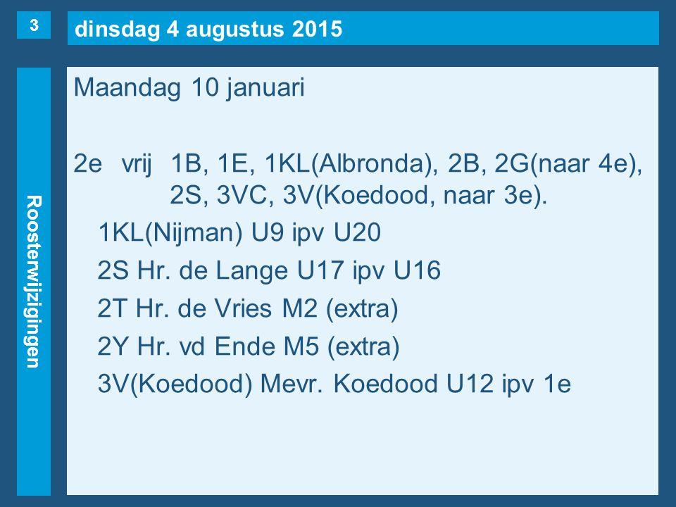 dinsdag 4 augustus 2015 Roosterwijzigingen Maandag 10 januari 3evrij1C, 1KL(Nijman), 1S, 2F, 2G(naar 5e), 2T, 2X, 3VS(maar…), 3VT(maar…), 4VA.