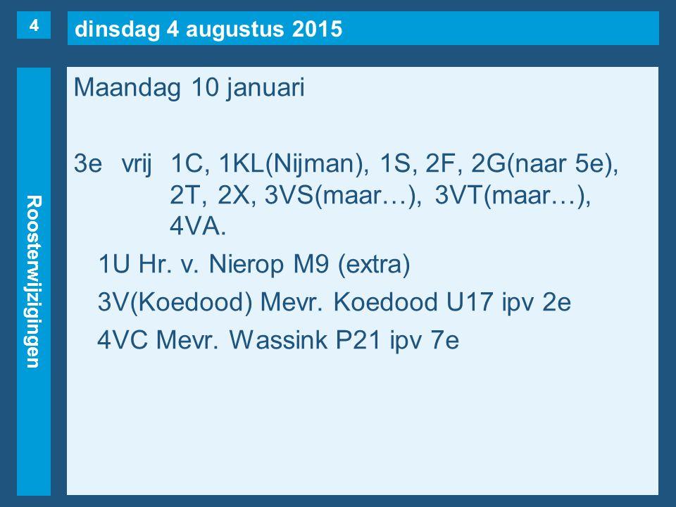dinsdag 4 augustus 2015 Roosterwijzigingen Maandag 10 januari 3evrij1C, 1KL(Nijman), 1S, 2F, 2G(naar 5e), 2T, 2X, 3VS(maar…), 3VT(maar…), 4VA. 1U Hr.