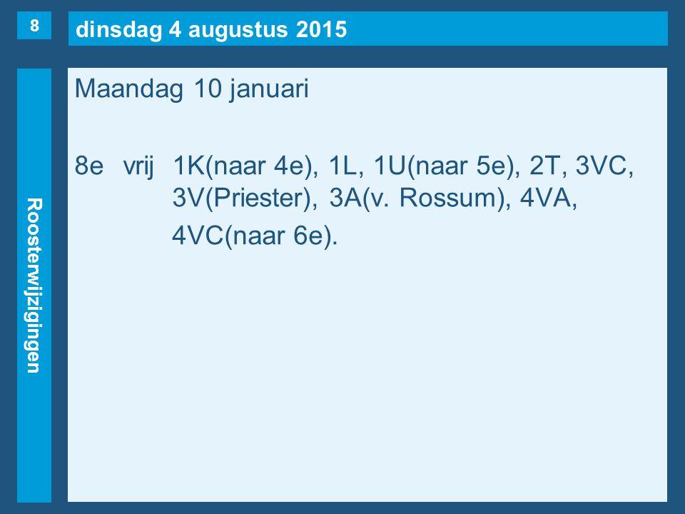 dinsdag 4 augustus 2015 Roosterwijzigingen Maandag 10 januari 8evrij1K(naar 4e), 1L, 1U(naar 5e), 2T, 3VC, 3V(Priester), 3A(v. Rossum), 4VA, 4VC(naar