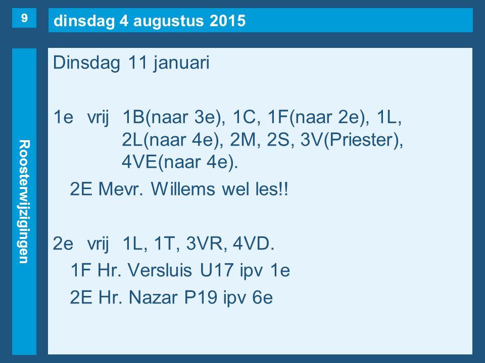 dinsdag 4 augustus 2015 Roosterwijzigingen Dinsdag 11 januari 3evrij1S, 1T(naar 6e), 3VC, 3VR, 4VE.