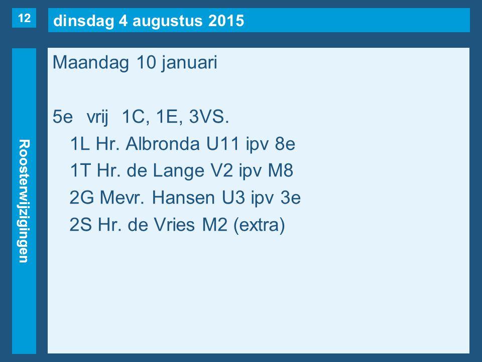 dinsdag 4 augustus 2015 Roosterwijzigingen Maandag 10 januari 5evrij1C, 1E, 3VS. 1L Hr. Albronda U11 ipv 8e 1T Hr. de Lange V2 ipv M8 2G Mevr. Hansen