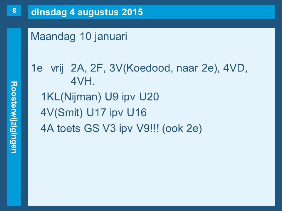 dinsdag 4 augustus 2015 Roosterwijzigingen Maandag 10 januari 1evrij2A, 2F, 3V(Koedood, naar 2e), 4VD, 4VH. 1KL(Nijman) U9 ipv U20 4V(Smit) U17 ipv U1