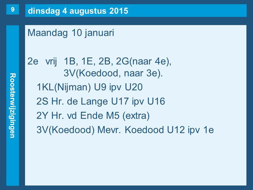 dinsdag 4 augustus 2015 Roosterwijzigingen Maandag 10 januari 2evrij1B, 1E, 2B, 2G(naar 4e), 3V(Koedood, naar 3e).