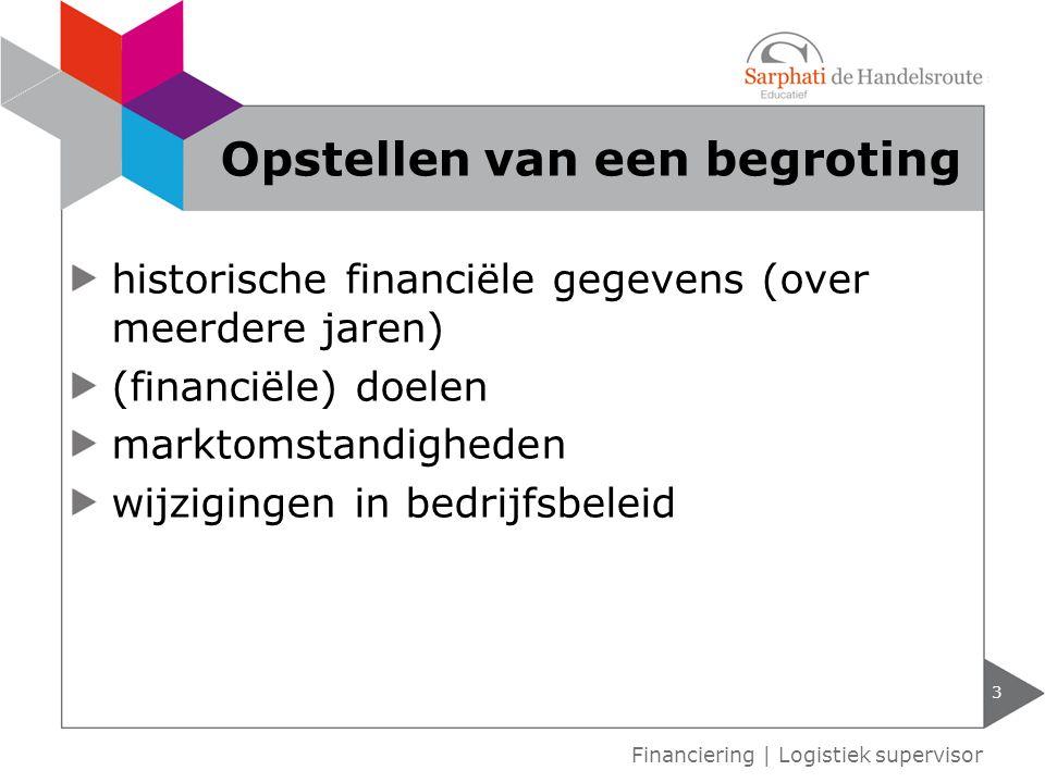 historische financiële gegevens (over meerdere jaren) (financiële) doelen marktomstandigheden wijzigingen in bedrijfsbeleid 3 Financiering | Logistiek supervisor Opstellen van een begroting