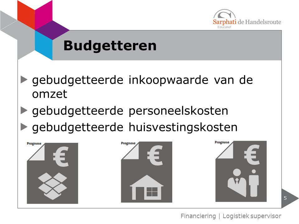 gebudgetteerde inkoopwaarde van de omzet gebudgetteerde personeelskosten gebudgetteerde huisvestingskosten 5 Financiering | Logistiek supervisor Budgetteren
