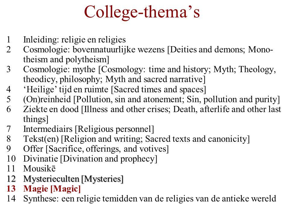 College-thema's 1Inleiding: religie en religies 2Cosmologie: bovennatuurlijke wezens [Deities and demons; Mono- theism and polytheism] 3Cosmologie: my