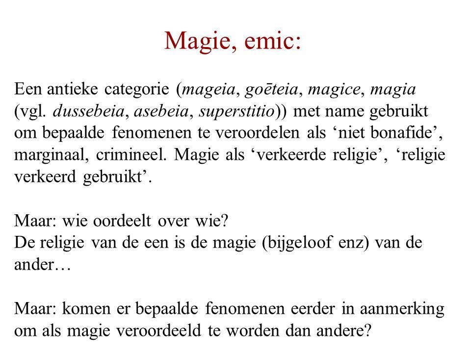 Magie, etic: 'Magisch denken/handelen' zijn een onderdeel van religie, en wel een specifiek onderdeel waar vragen overgaat in dwingen van de bovennatuur (automatis- me, 'chantage') NB: marginaal ten opzichte van mijn definitie van religie, vgl.